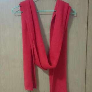 全新 紅色 手織感圍巾