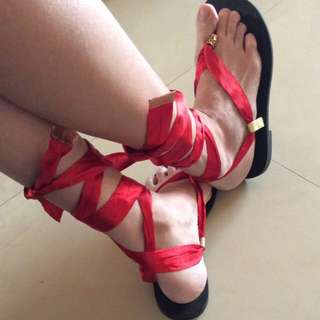 渡假風宮廷式羅馬交叉性感綁帶款魅惑紅色夾腳拖鞋