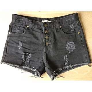 黑色牛仔高腰短褲