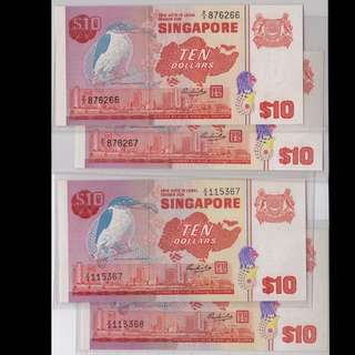 [RESERVED] Singapore Bird Series $10 Replacement 2 Sets 2-run UNC