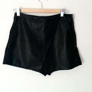Dotti Leather Look Shorts - Size 10
