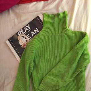 待匯二手)Gap綠色高領毛衣短版s