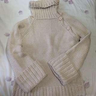 兩穿式米色毛衣