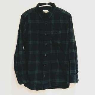 綠格紋 木釦 格子襯衫