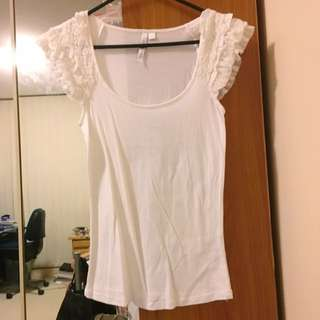Forever New White Frill Sleeve Top