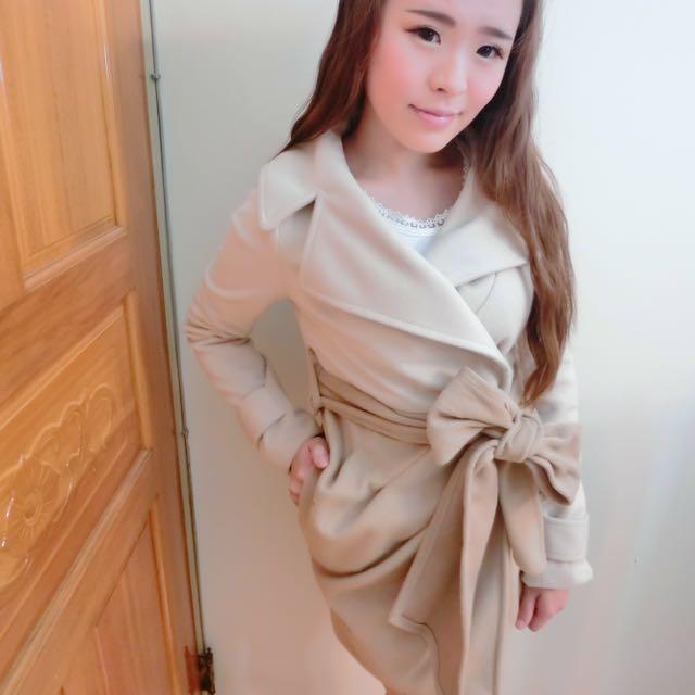 日本層次感蝴蝶結綁帶大衣