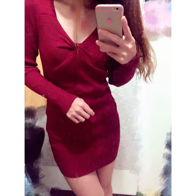 🎀紅色針織上衣