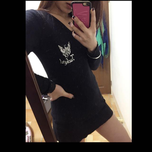 黑色長版個性性感洋裝