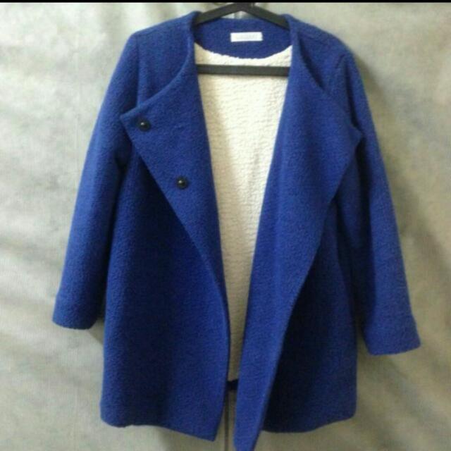 含運💕正韓寶藍色大衣