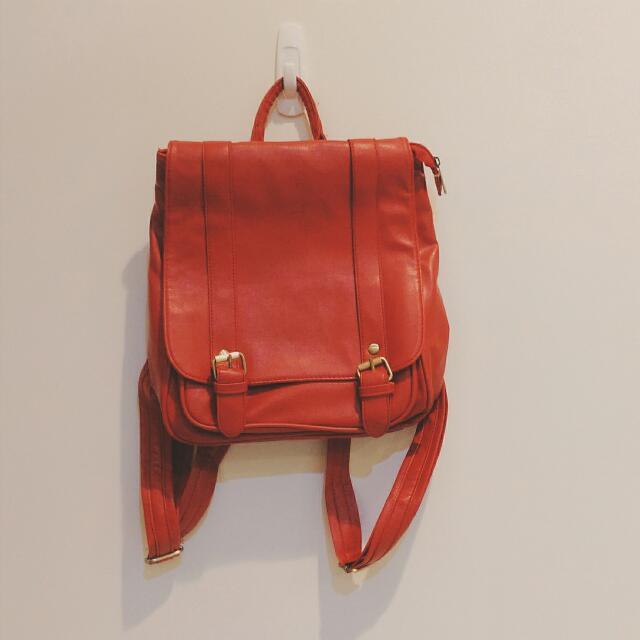 日系 紅色背包