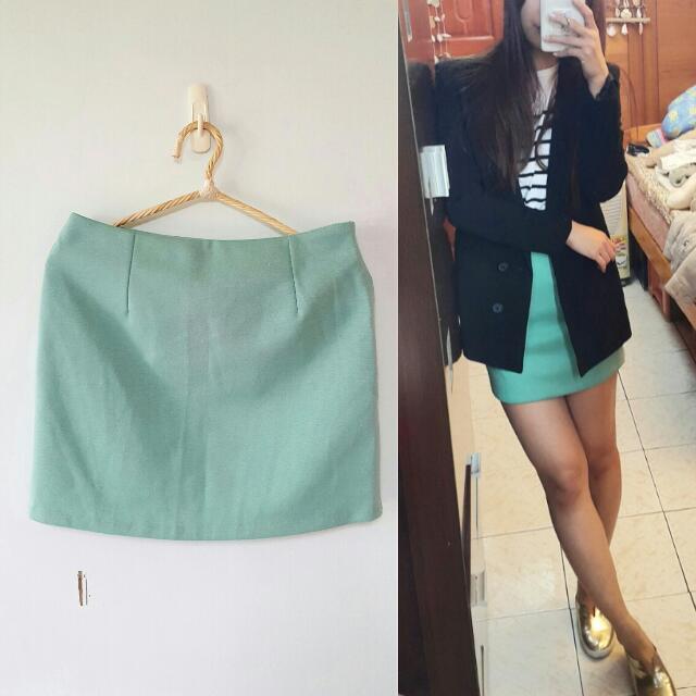 正韓 蘋果綠 顯瘦細身款窄裙