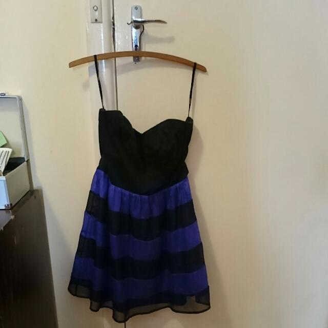 Bluejuice Strapless Purple Striped Dress