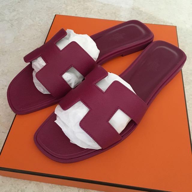 09fb04c22a0e reserved  Bnib Hermes Oran Sandals In Fuchsia Epsom Size 39
