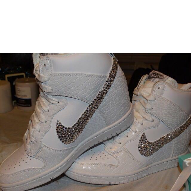 new photos c5e1e e9a93 Custom Bling Rhinestone White Croc Snake Nike Dunk Sky Hi Wedge Sneaker,  Luxury on Carousell