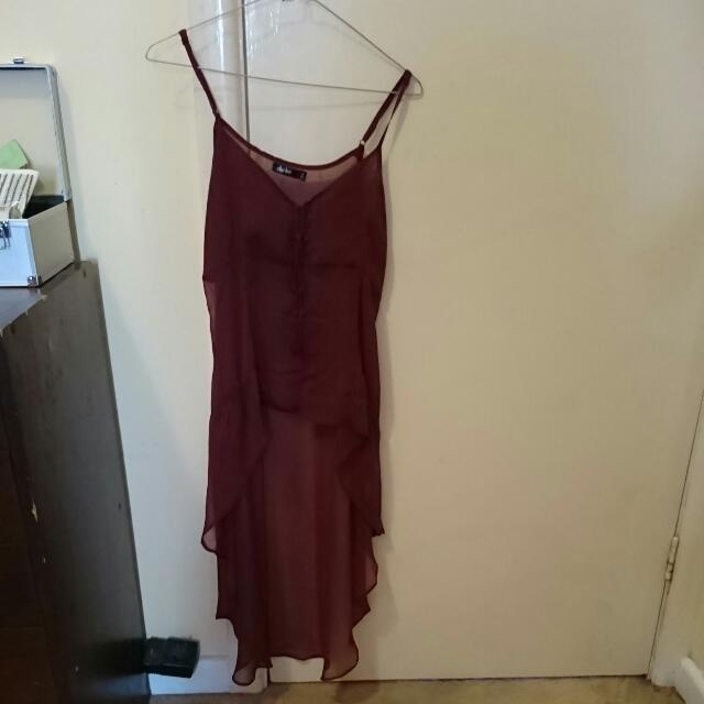 Cute Sheer Marone Long Top (size 10)