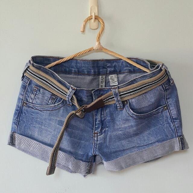 Mango 刷色反折牛仔短褲