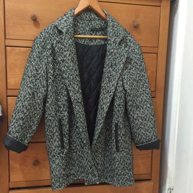 Pazoo 皮革拼接鋪棉大衣