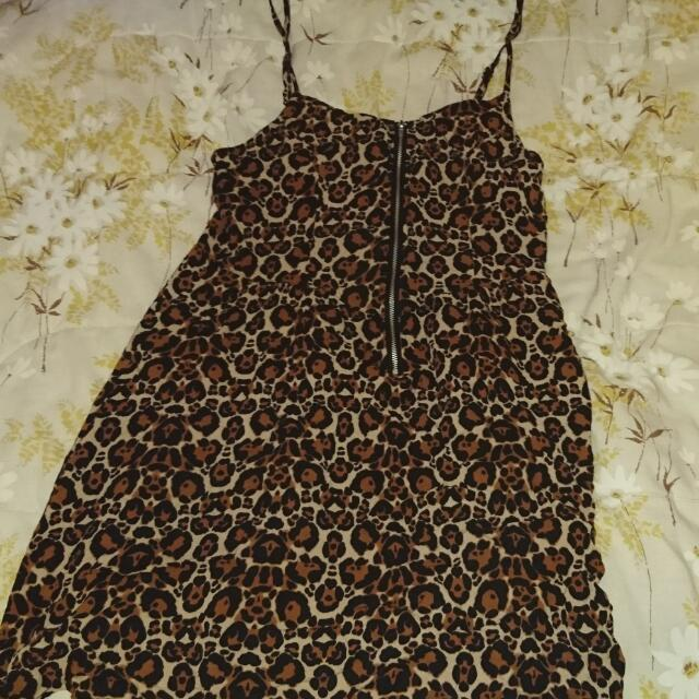 Summer Leopard Print Mini Dress h&m (size 12)