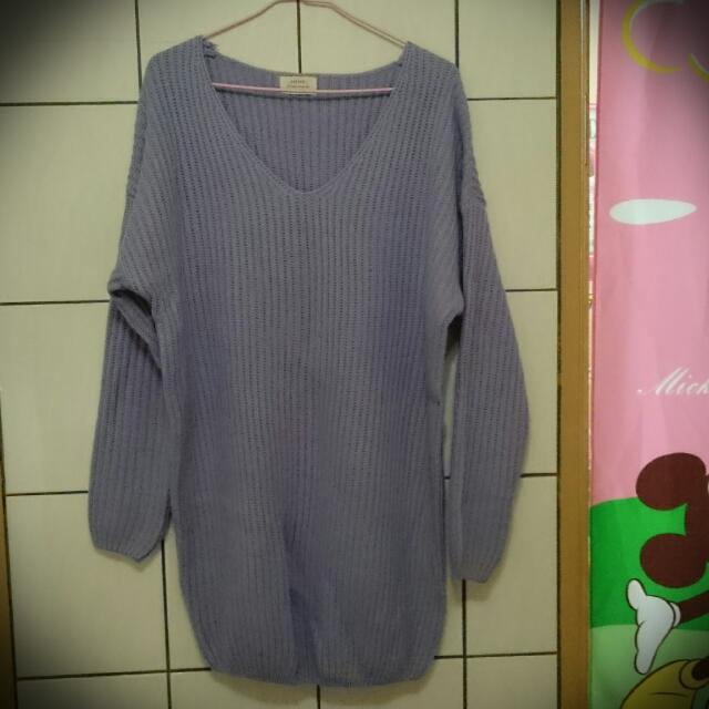 全新轉賣:紫色馬卡龍厚針織V領保暖毛衣