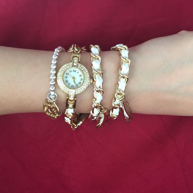 Valentine's special! $5 off!  Now only $24! Gold Stainless Steel chains With PU Leather Straps Wrap Around Design Fashion Watch