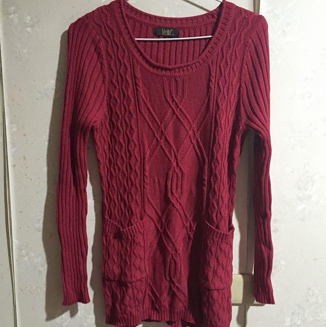 veeko專櫃 紅色針織毛衣