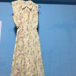 Lovely Yellow Flowery Retro Dress