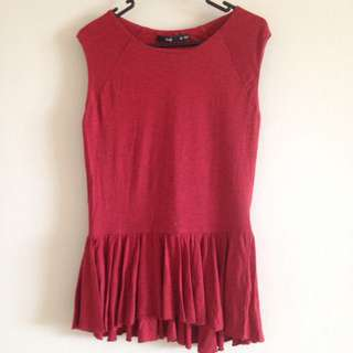Sportsgirl Red Peplum Top