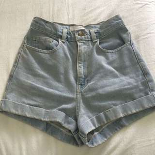 American Apparel High Waisted Denim Shorts
