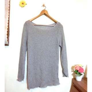 素色灰粗針織長袖罩衫