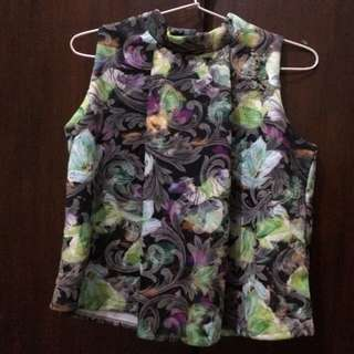 Blouse Neck Motif Bunga
