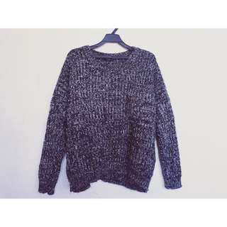 超保暖 黑白麻花織線毛衣