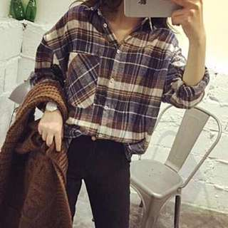 Oversized Checkered Top