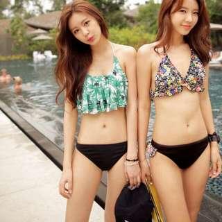 現貨L 韓版 荷葉邊 葉子 夏日風 平口 比基尼 兩件式 顯瘦 泳衣