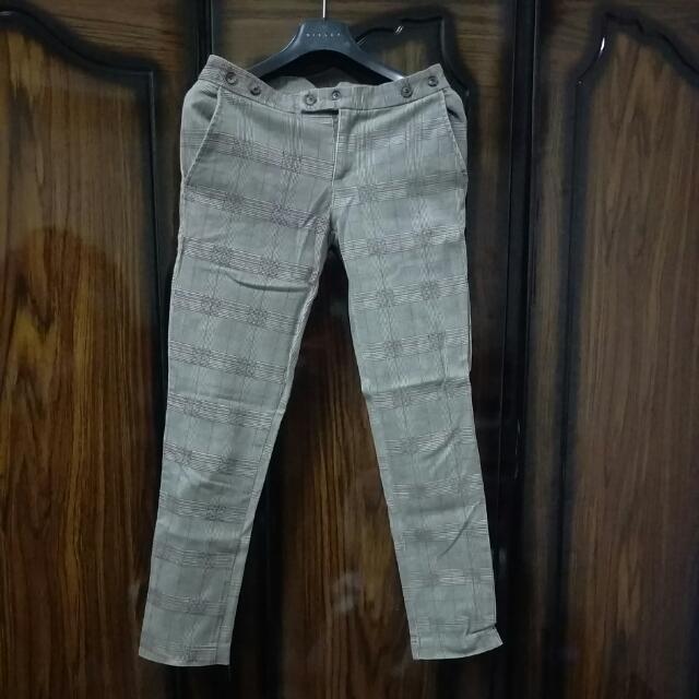 九分復古經典格紋褲