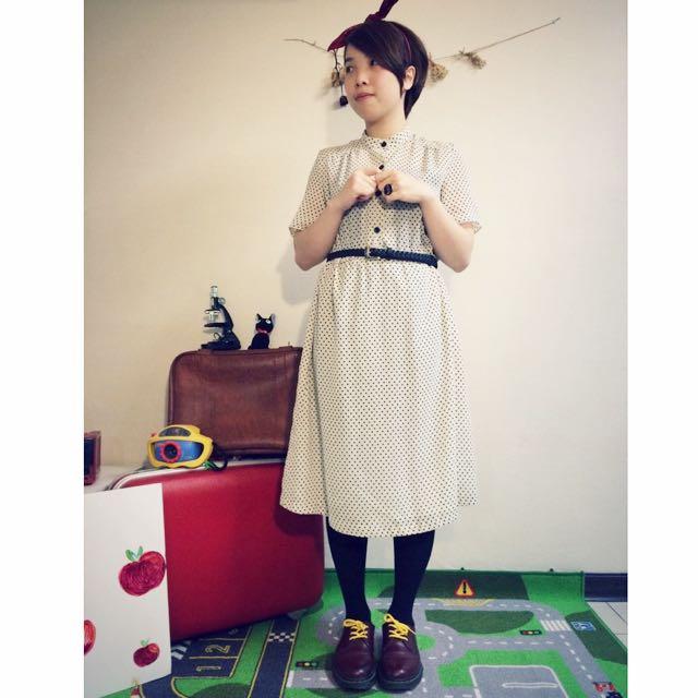 ::跳舞小水玉::古著黑點點白洋裝