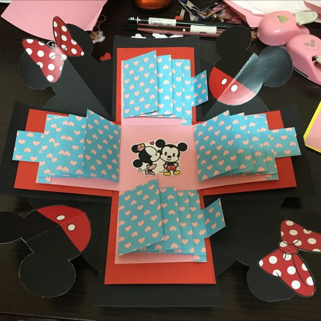 #現貨 米奇米妮 禮物盒 情人節客製化 手工卡片