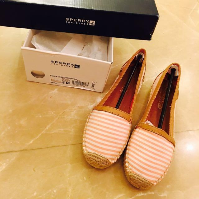 美國帶回 Sperry 法式草編鞋 粉橘條紋 22.5 樂福鞋