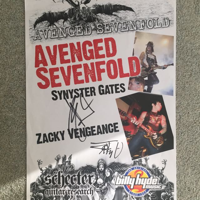 Avenged Sevenfold A7X Signed Autographed Poster