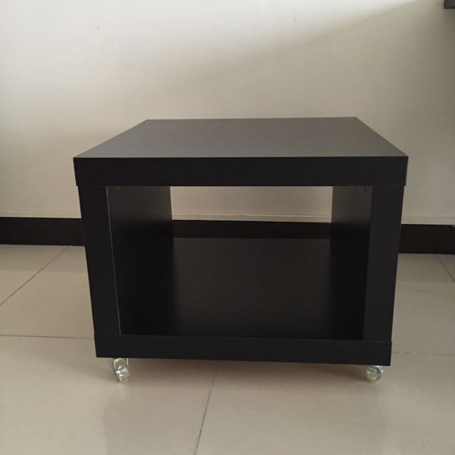 IKEA LACK Side Table On Casters Black Brown   2 Items, Furniture On  Carousell