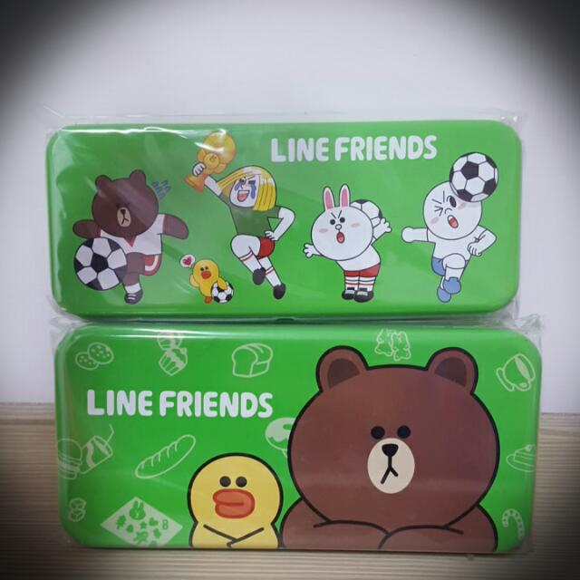 【全新正版】LINE雙層鐵鉛筆盒(大、小款)