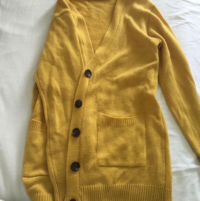 Long Mustard Yellow Cardigan