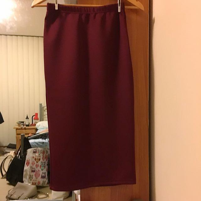 Maroon Midi Skirt Size XS