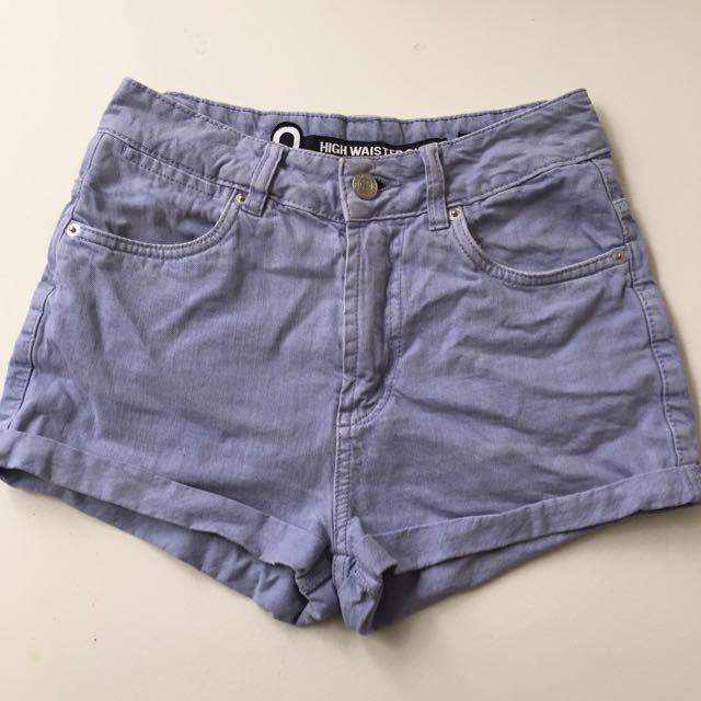Pale Blue/purple High Waisted Shorts
