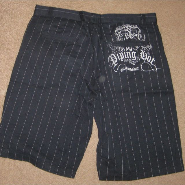 Piping Hot Black Pinstripe Men's Skater Shorts