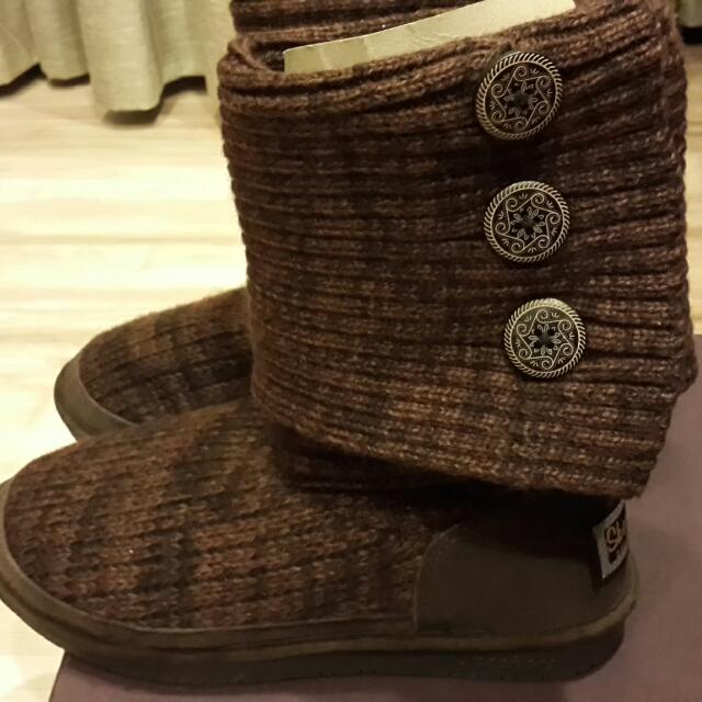 🍦🍦降價Skechers深咖啡毛料靴子