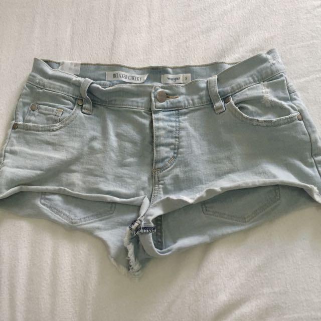 Wrangler Light Blue Relaxed Cheeky Shorts