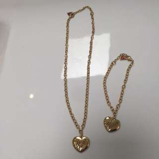 Guess Gold Bracelet And Necklace Set
