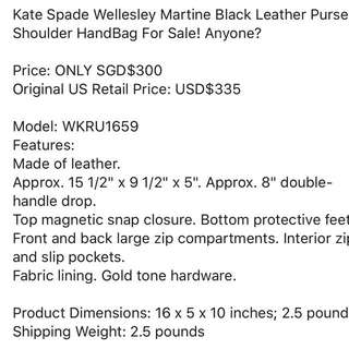 BNWT Kate Spade Wellesley Martine Black Leather Purse Shoulder Handbag