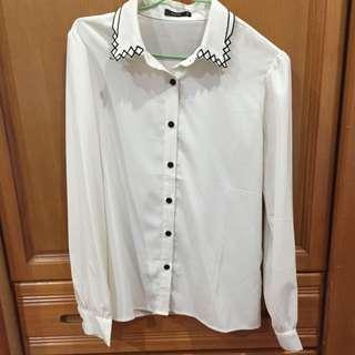 九成新 Pazzo雪紡刺繡領襯衫S