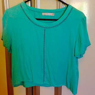 Quirky Circus Teal Cropped T-shirt